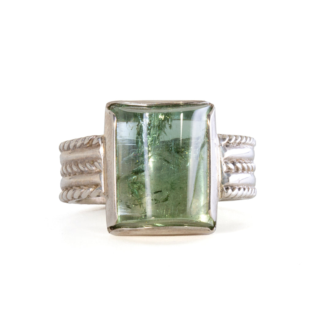 Green Tourmaline 11.58 carat Handcrafted Sterling Silver Ring