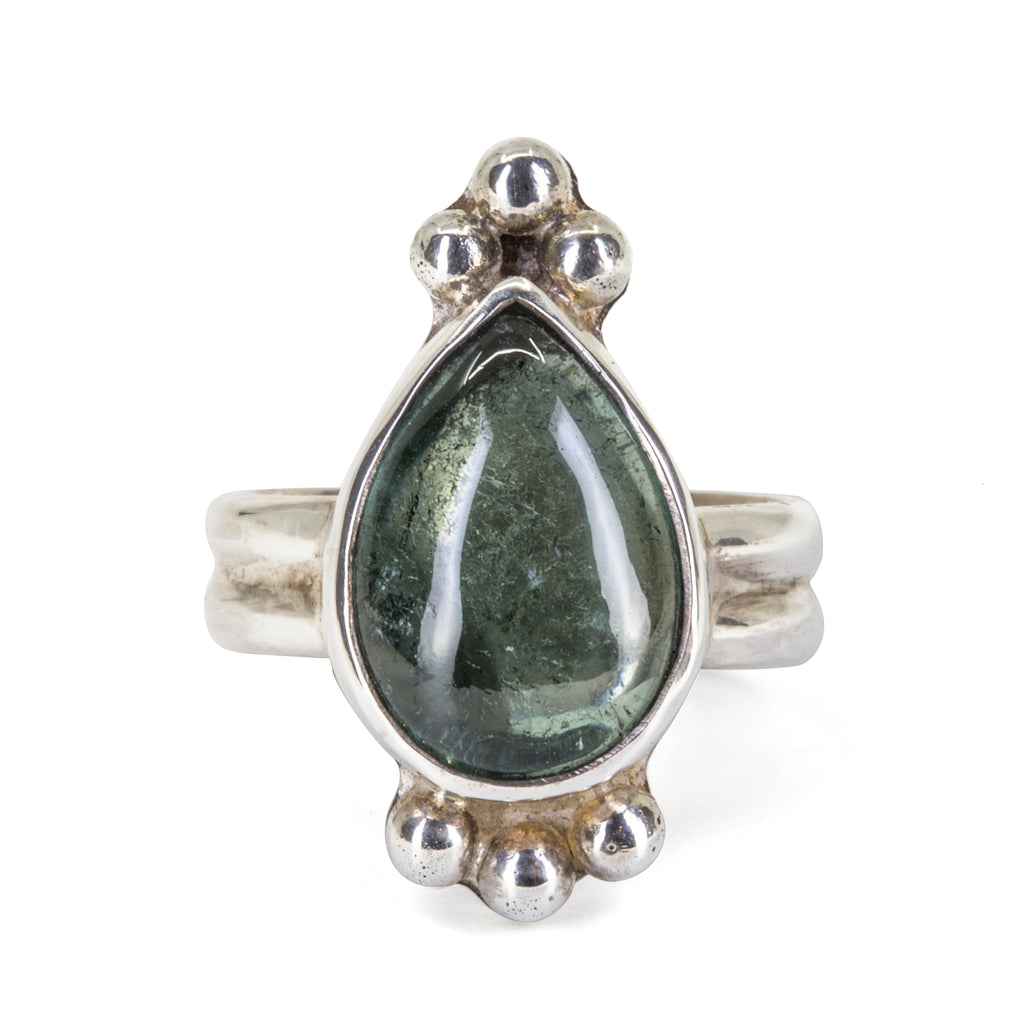 Green Tourmaline 8.73 carat Pear shaped Cabochon Handcrafted Sterling Silver Ring