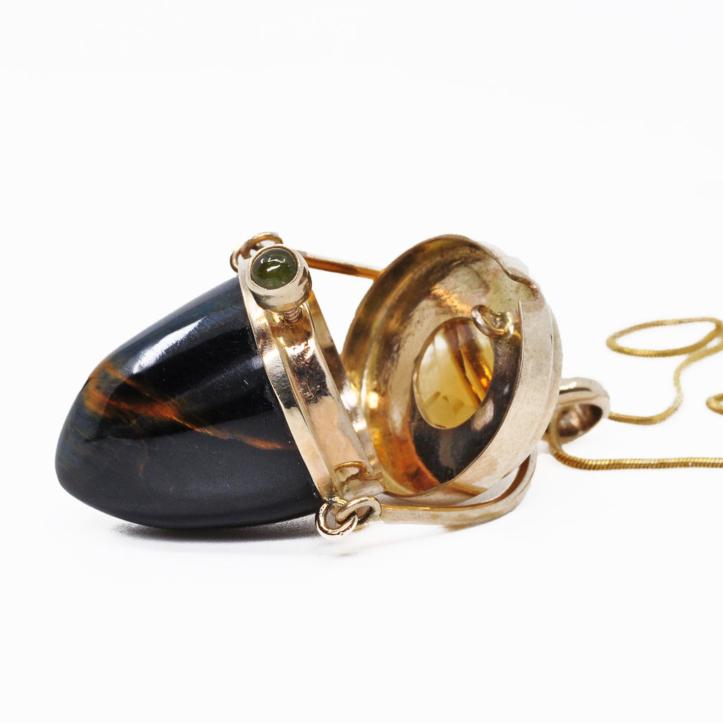 Hawk's Eye with Citrine and Tourmaline 14k Handcrafted Gemstone Vessel Pendant