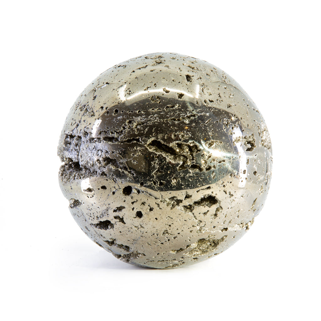 Pyrite 6.52 inch 21.25 lb Partial Polished Crystal Sphere - Peru