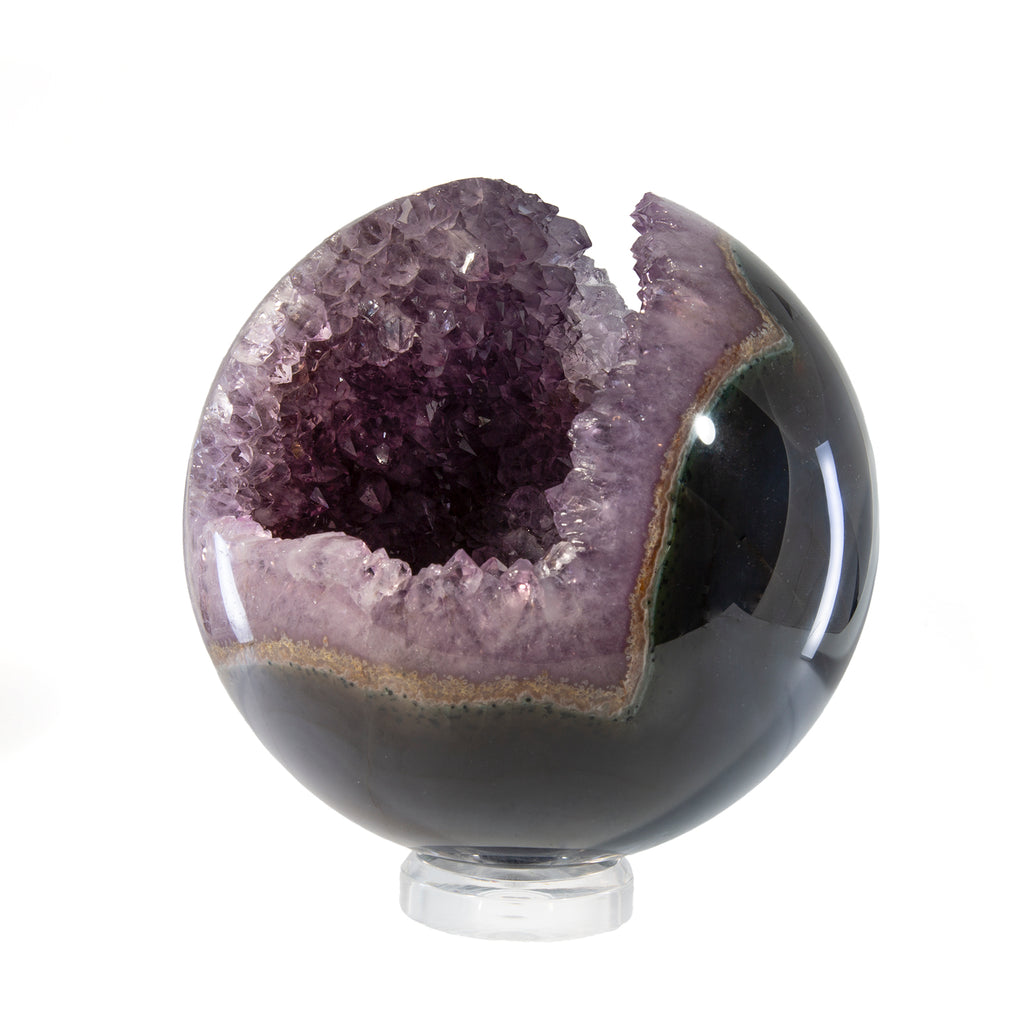 Amethyst Geode 8.5 inch 20.8lb Polished Crystal Sphere - Brazil