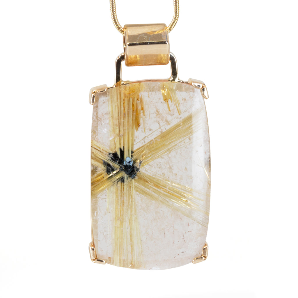 Star Rutilated Quartz 28ct Handcrafted 14k Pendant