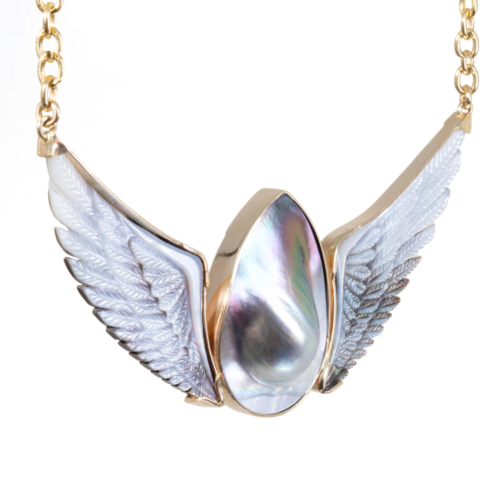 Mabe Pearl with Mother of Pearl Hand-Carved Angel Wing 14k Necklace