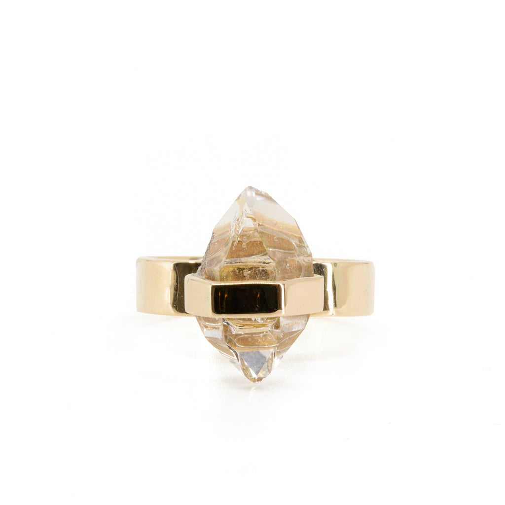 "Herkimer ""Diamond"" 7.49 carat natural Quartz Crystal Handcrafted 14k ring"