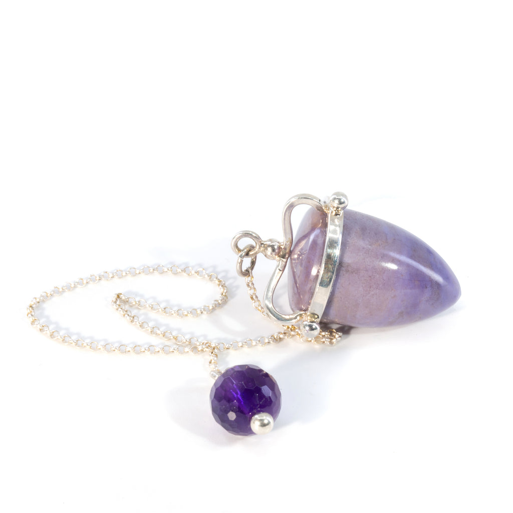 Purple Jade 55.7 carat with Amethyst Handcrafted Sterling Silver Pendulum