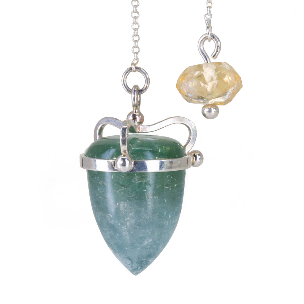 Blue-Green Tourmaline 54.18 carat Handcrafted Sterling Silver Pendulum