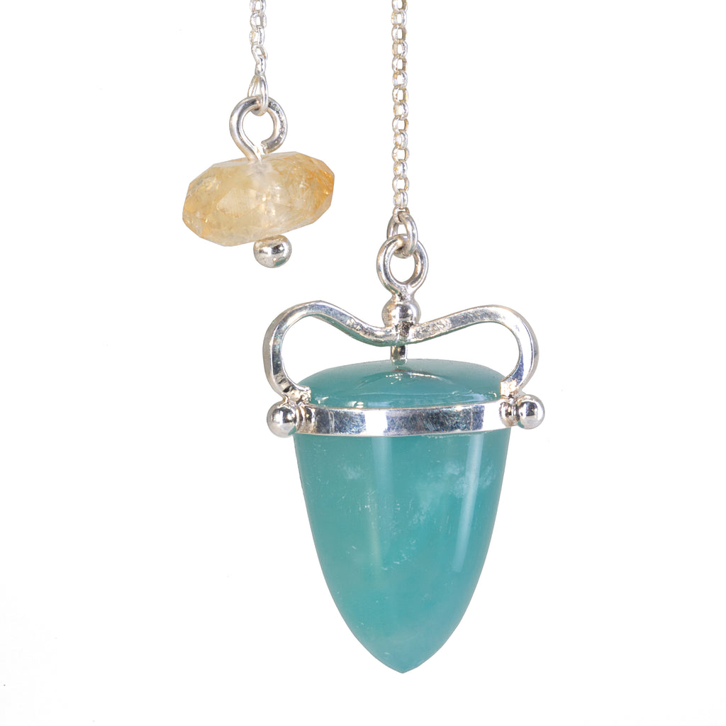 """Aquaprase"" Blue-Green Chalcedony 35.88 carat Handcrafted Sterling Silver Pendulum"