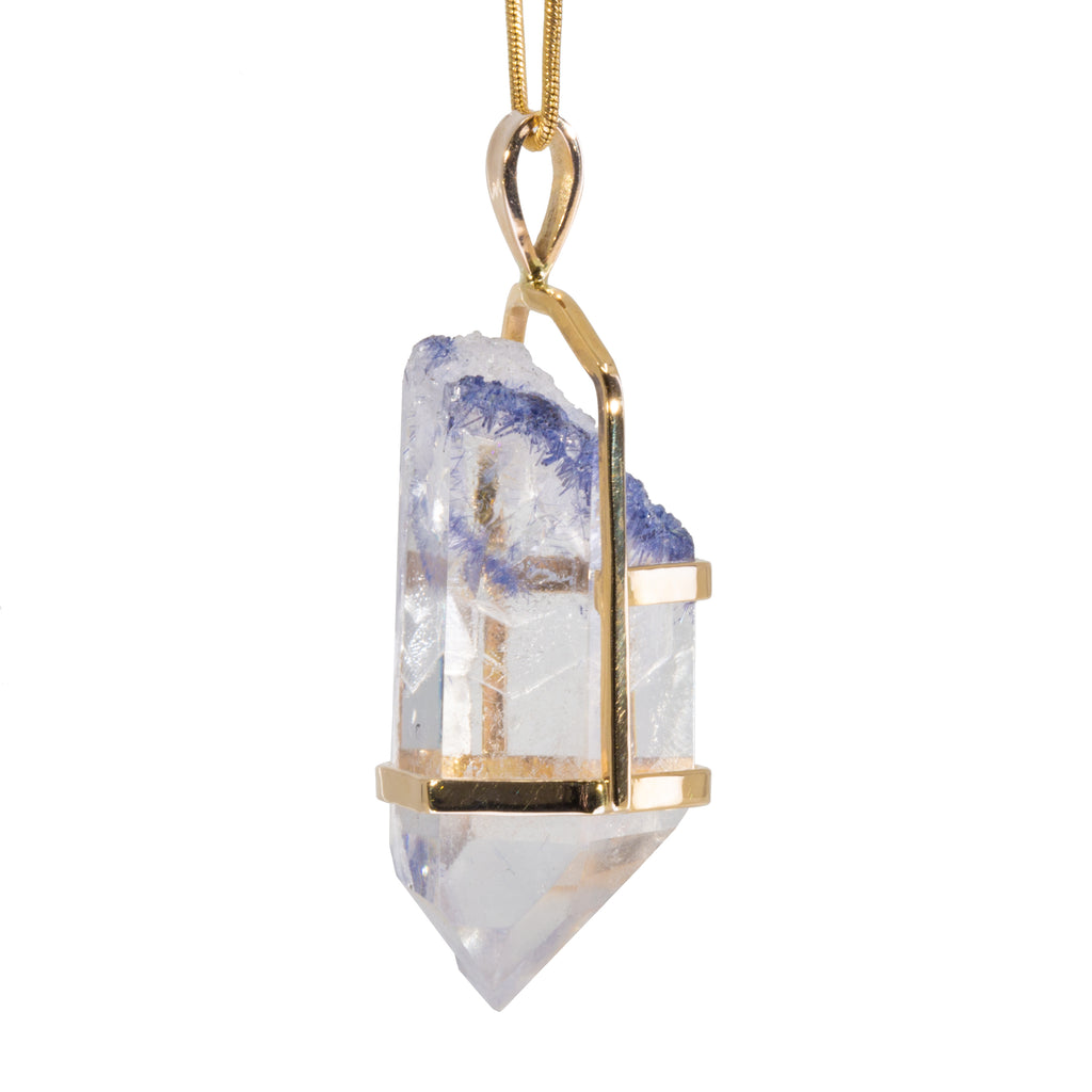 Dumortierite in Quartz 66.7 carat 14k Handcrafted Polished Crystal Pendant