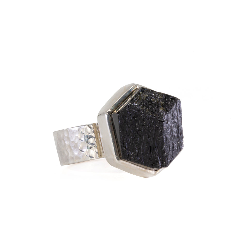 Black Tourmaline 14 carat Natural Crystal Sterling Silver Handcrafted Ring