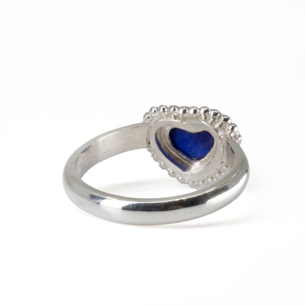 Lapis 5.6 mm Heart Cabochon Handcrafted Sterling Silver Ring