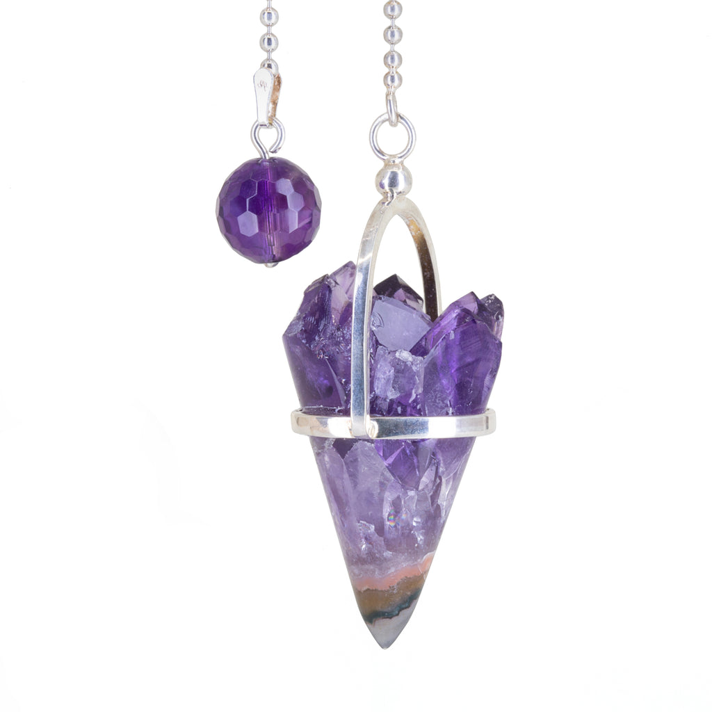 Amethyst 64.97 carat Natural Crystal Handcrafted Sterling Silver Pendulum