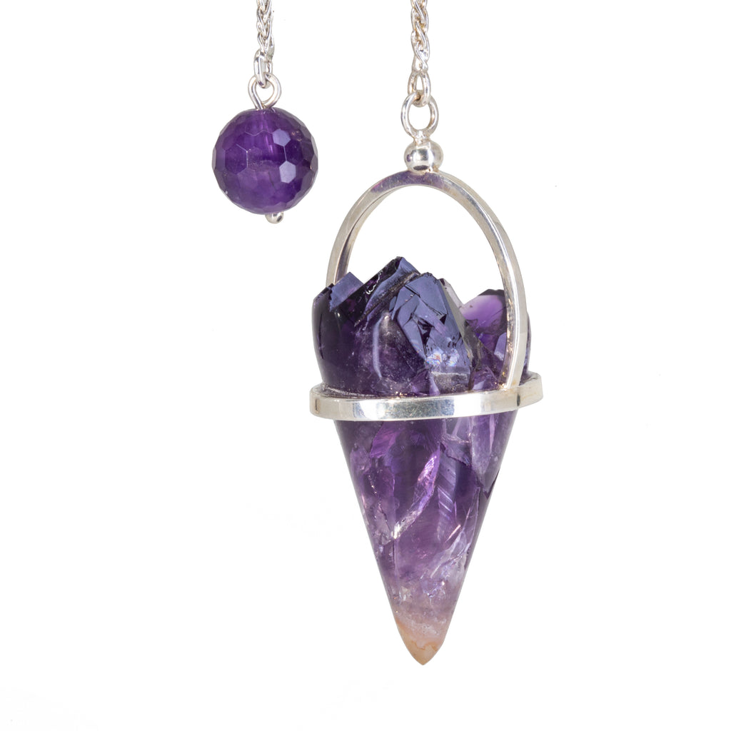 Amethyst 78.38 carat Natural Crystal Handcrafted Sterling Silver Pendulum