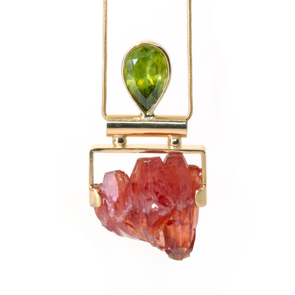 Rhodochrosite 40ct Natural Crystal with Sphene 5ct 14k Handcarfted Pendant