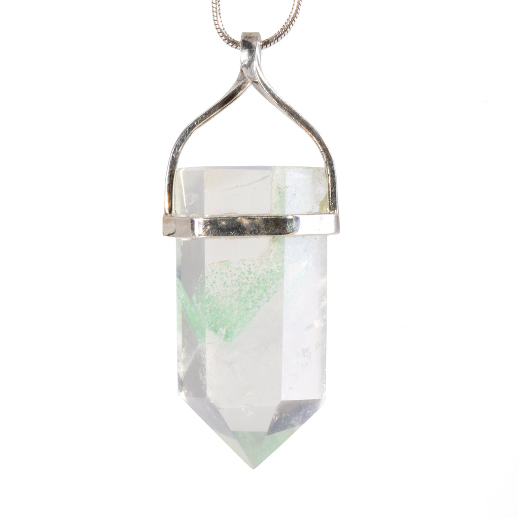 Chlorite in Quartz 30.42 carat Handcrafted Sterling Silver Polished Crystal Phantom Pendant