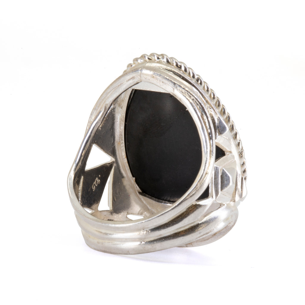 Black Tourmaline 23.76 carat Partial Polished Handcrafted Sterling Silver Ring