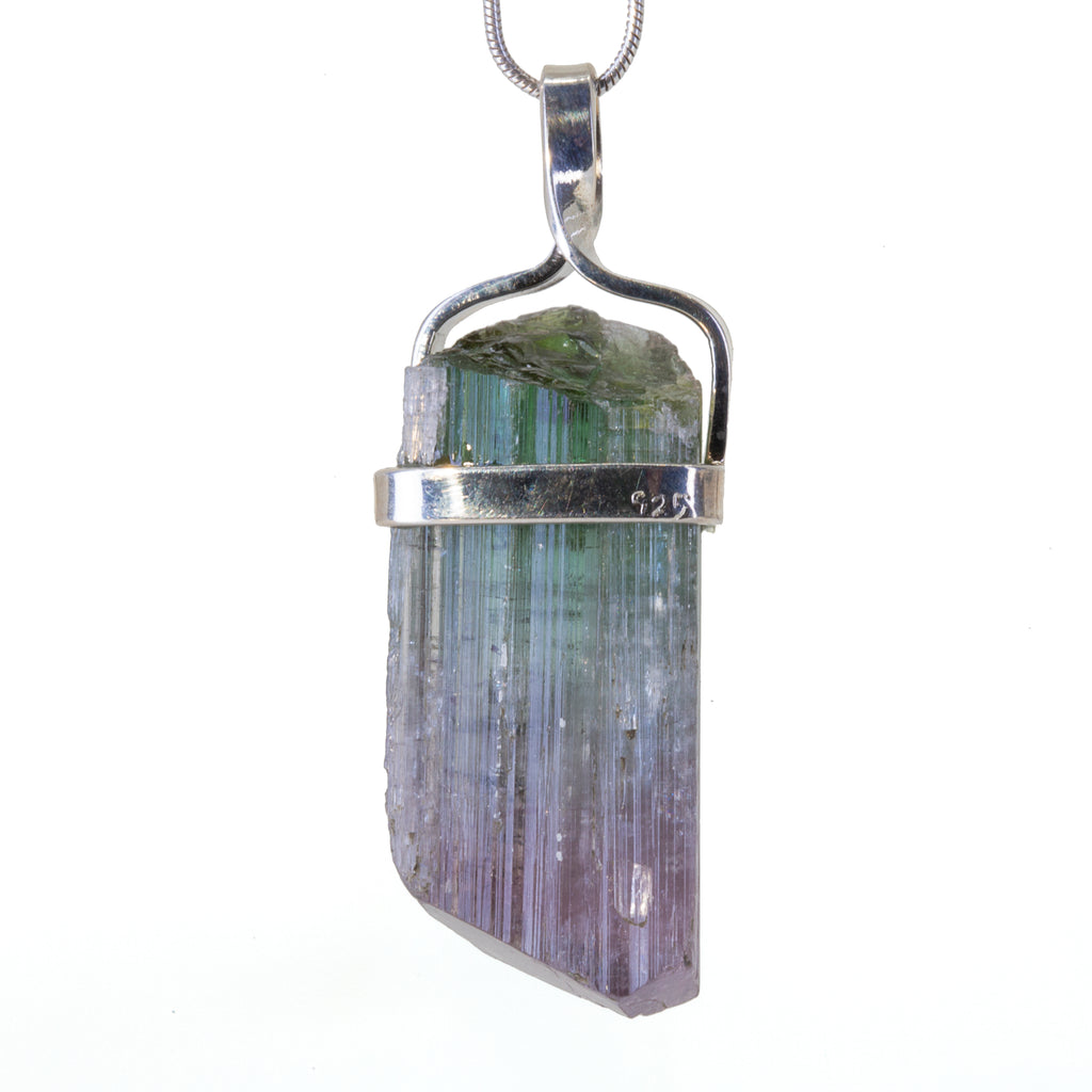 Bi-Color Tourmaline 55.62 carat Handcrafted Sterling Silver Natural Crystal Pendant