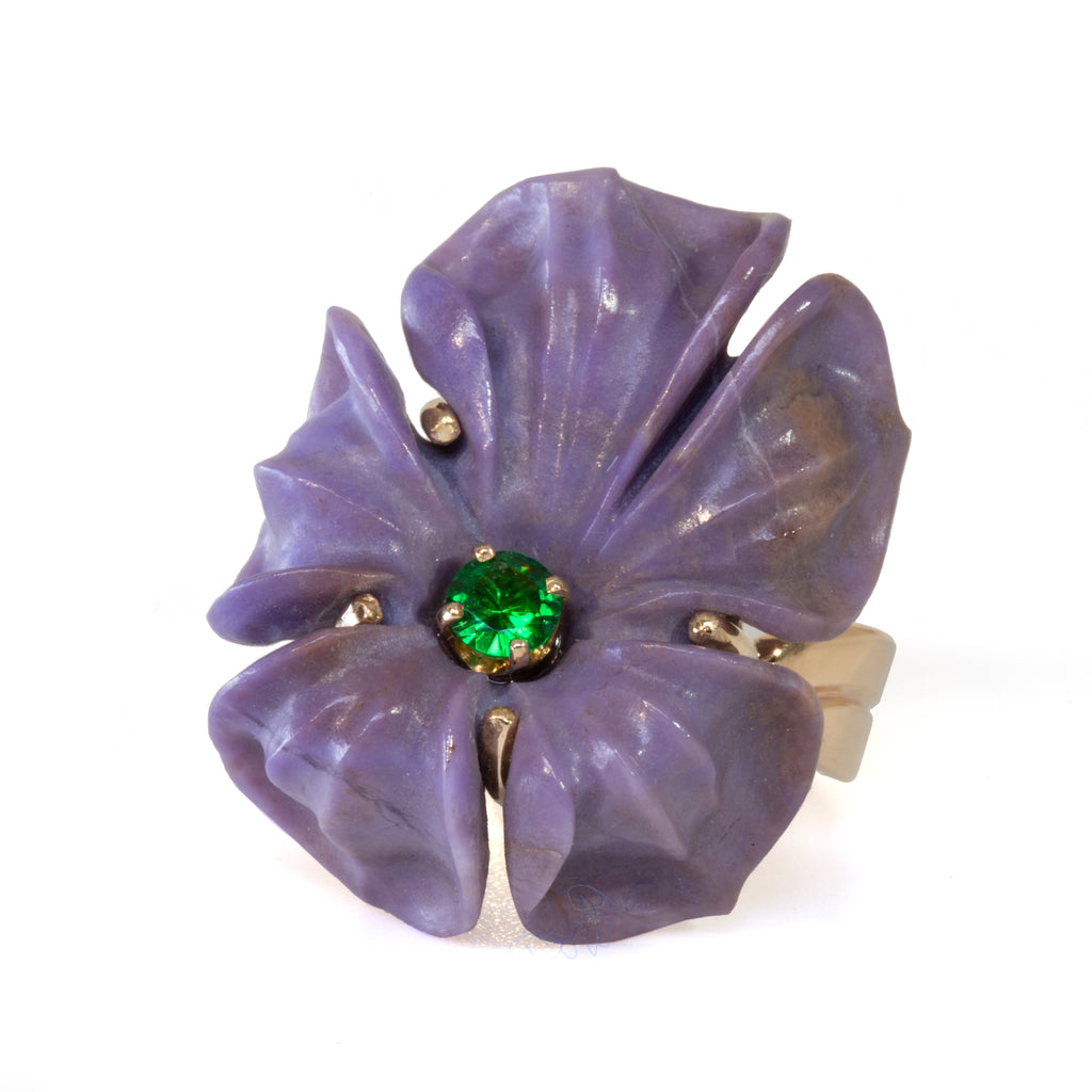 Carved Purple Jade Flower With Tsavorite Accent Handcrafted 14k Ring