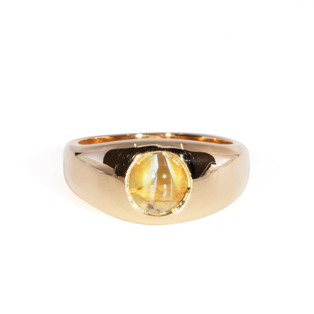 Cat's Eye Chrysoberyl 1.91 carat Handcrafted 14k Cabochon Ring
