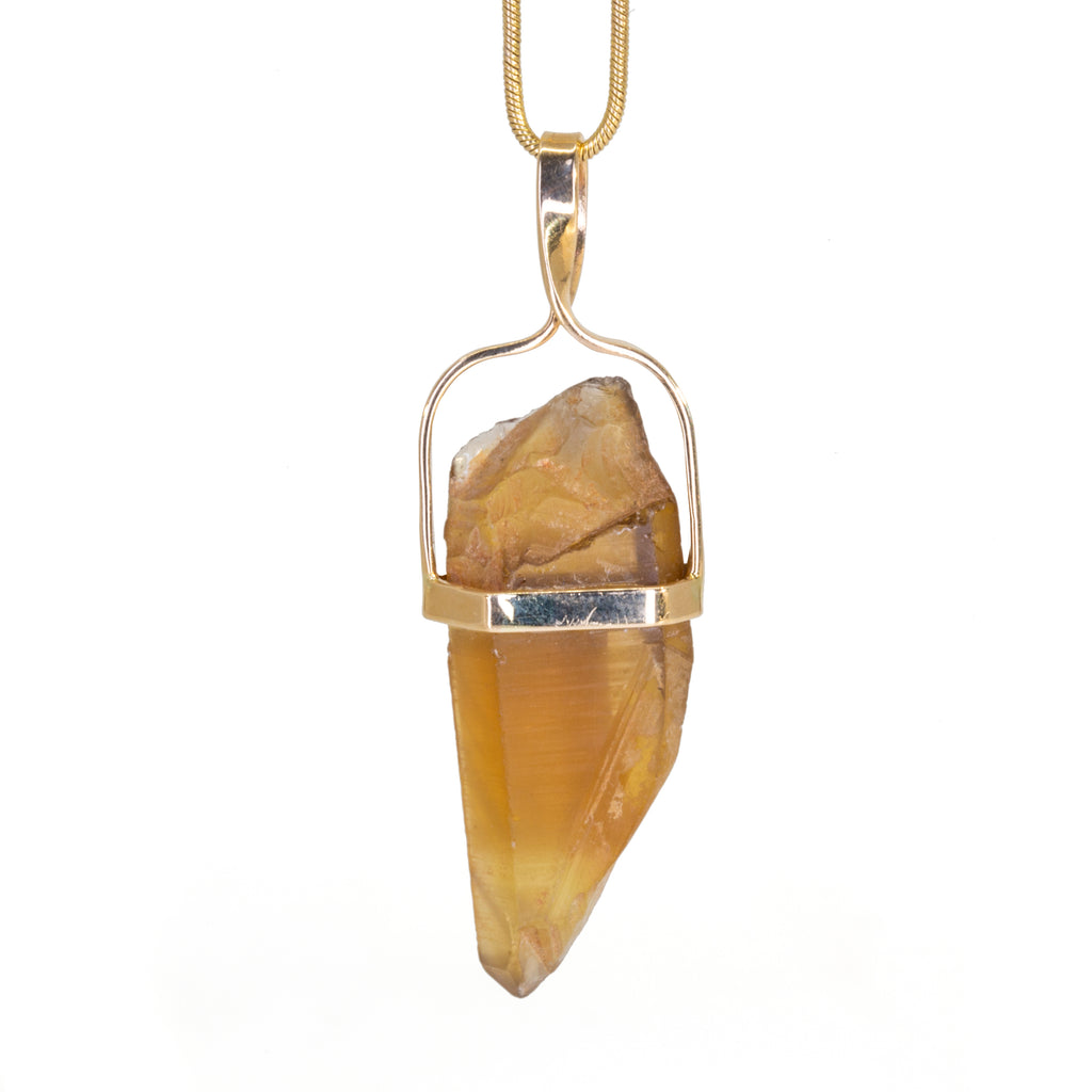 Citrine 24.09 carat 14k Handcrafted Natural Crystal Pendant