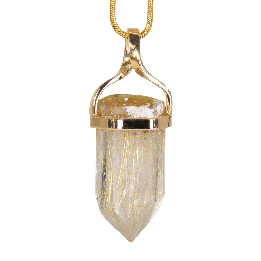 Rutilated Quartz 24.21 carat Handcrafted 14k Polished Crystal Pendant