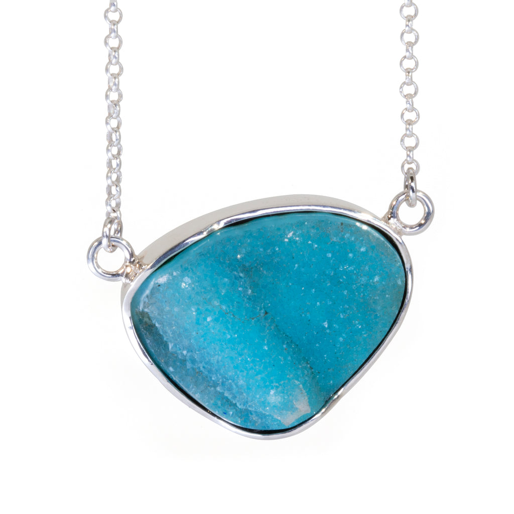 Druzy Chrysocolla 15 carat Handcrafted Sterling Silver Necklace