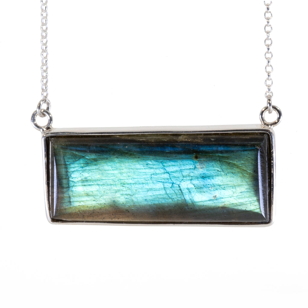 Labradorite 36.5 carat Handcrafted Sterling Silver Necklace