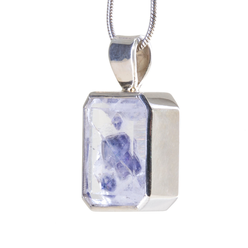 Fluorite in Quartz 4.97 carat Handcrafted Sterling Silver Pendant