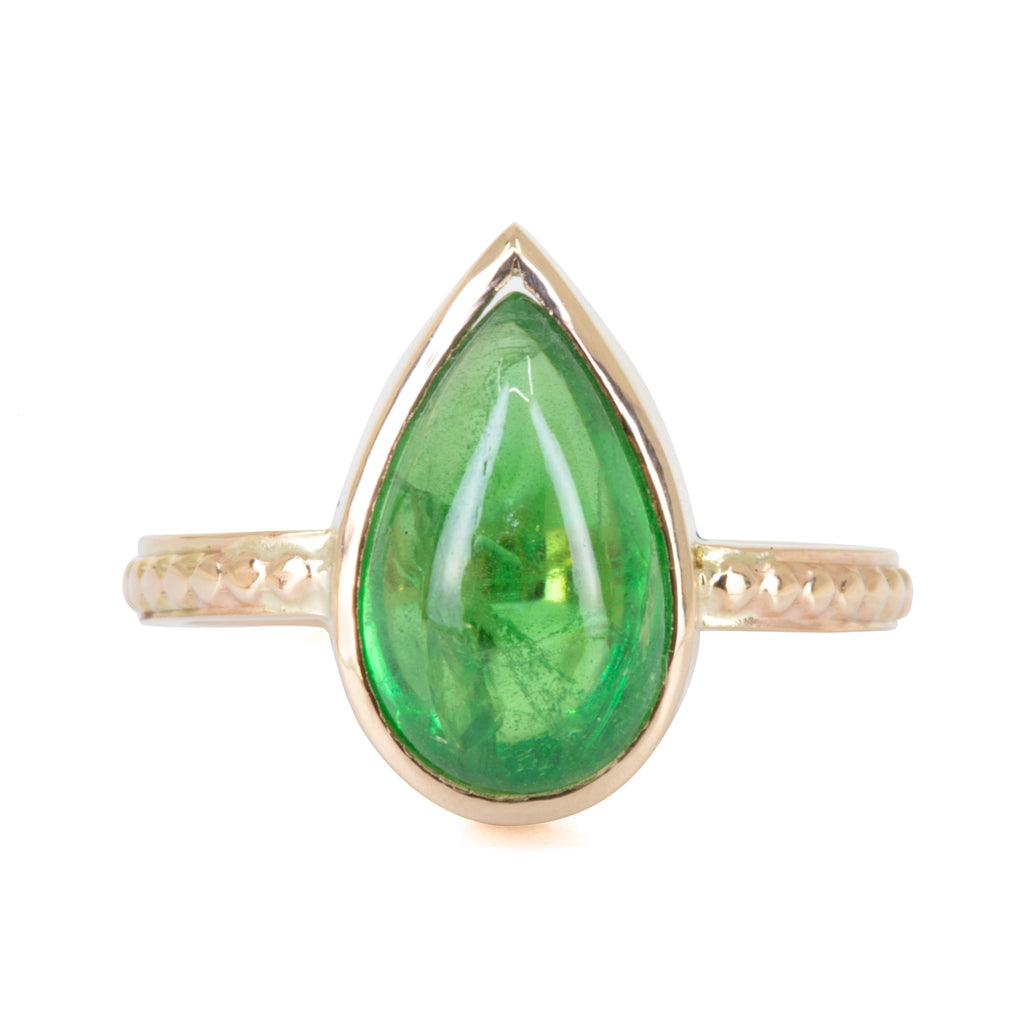 Tsavorite Garnet 4.66 carat Handcrafted 14k Pear Shaped Cabochon Ring