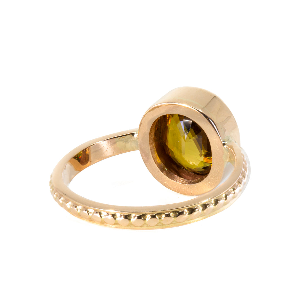 Sphene 3.14 carat Handcrafted 14k Faceted Gemstone Ring
