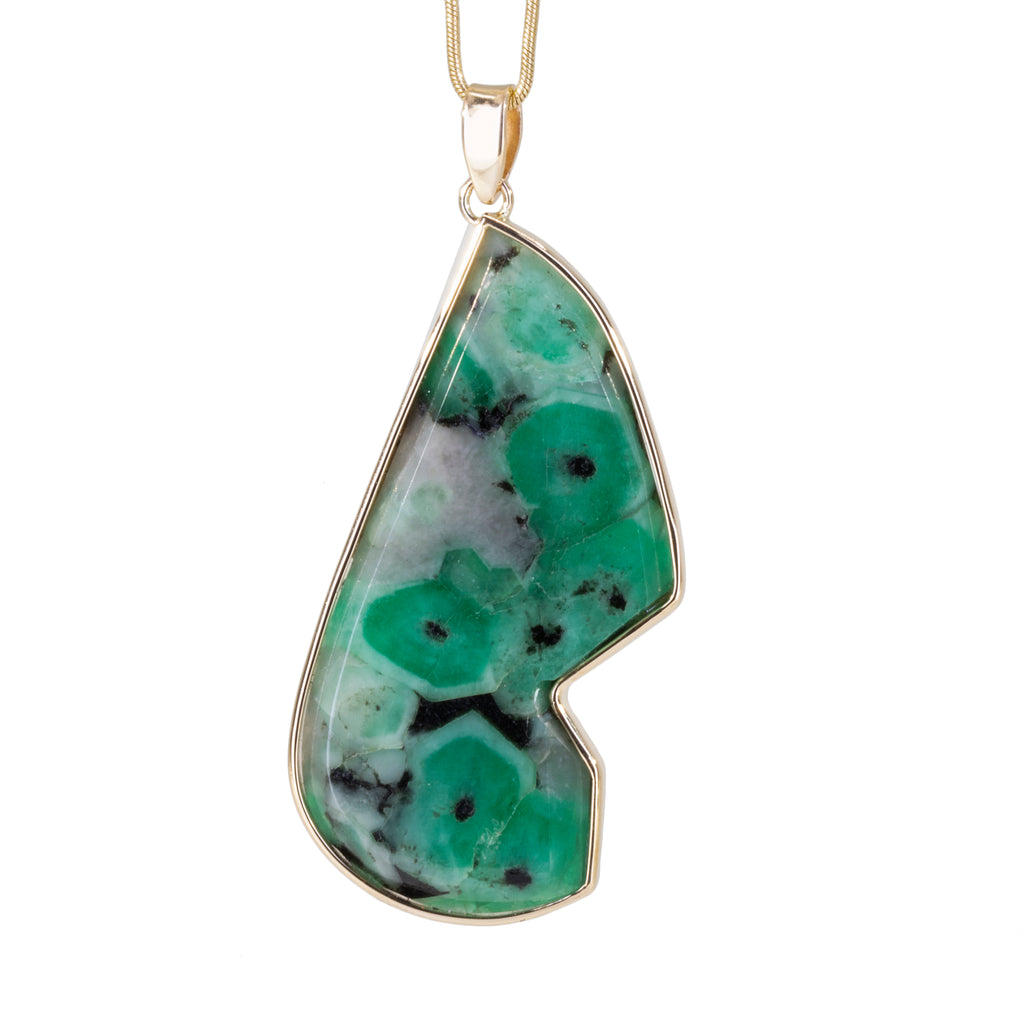 Emerald in Matrix 48.46 carat Handcrafted 14k Freeform Pendant