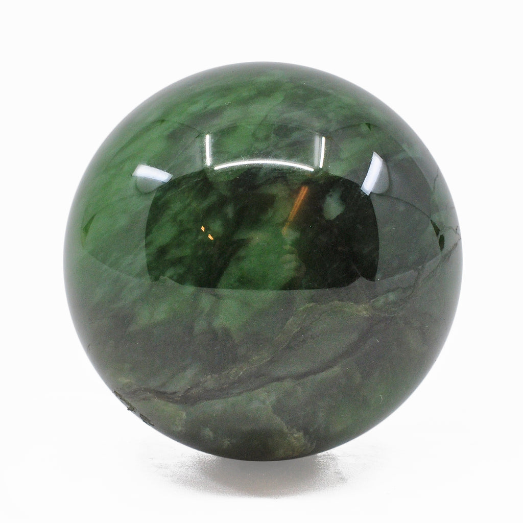 Catseye Nephrite Jade 1.7 inch 128 grams Natural Crystal Polished Sphere - Russia
