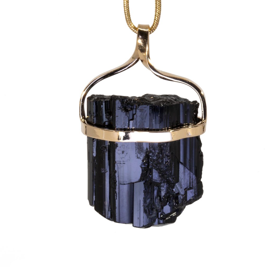 Black Tourmaline 61.51 carat 14k Handcrafted Natural Crystal Pendant
