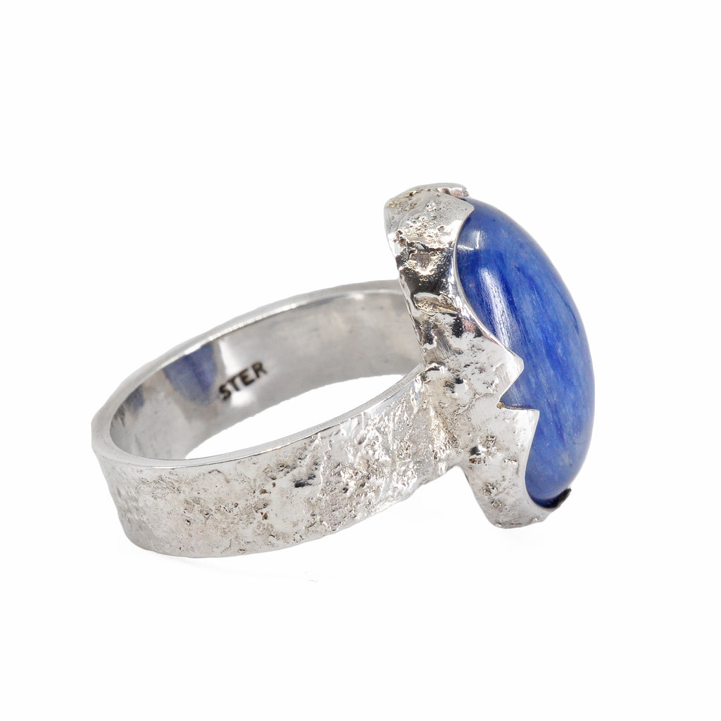 Kyanite Cabochon Sterling Silver Textured Ring