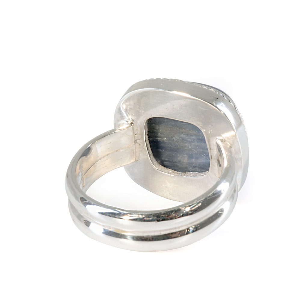 Kyanite 16.71 carat Handcrafted Sterling Silver Rope Detail Ring