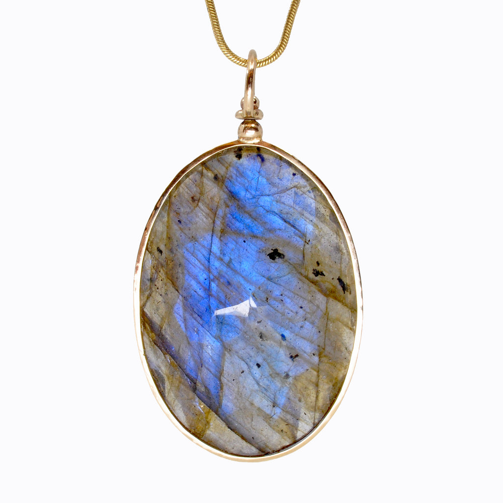 Exceptional Labradorite 55.97 carats Faceted Oval 14K Handcrafted Gemstone Swivel Pendant