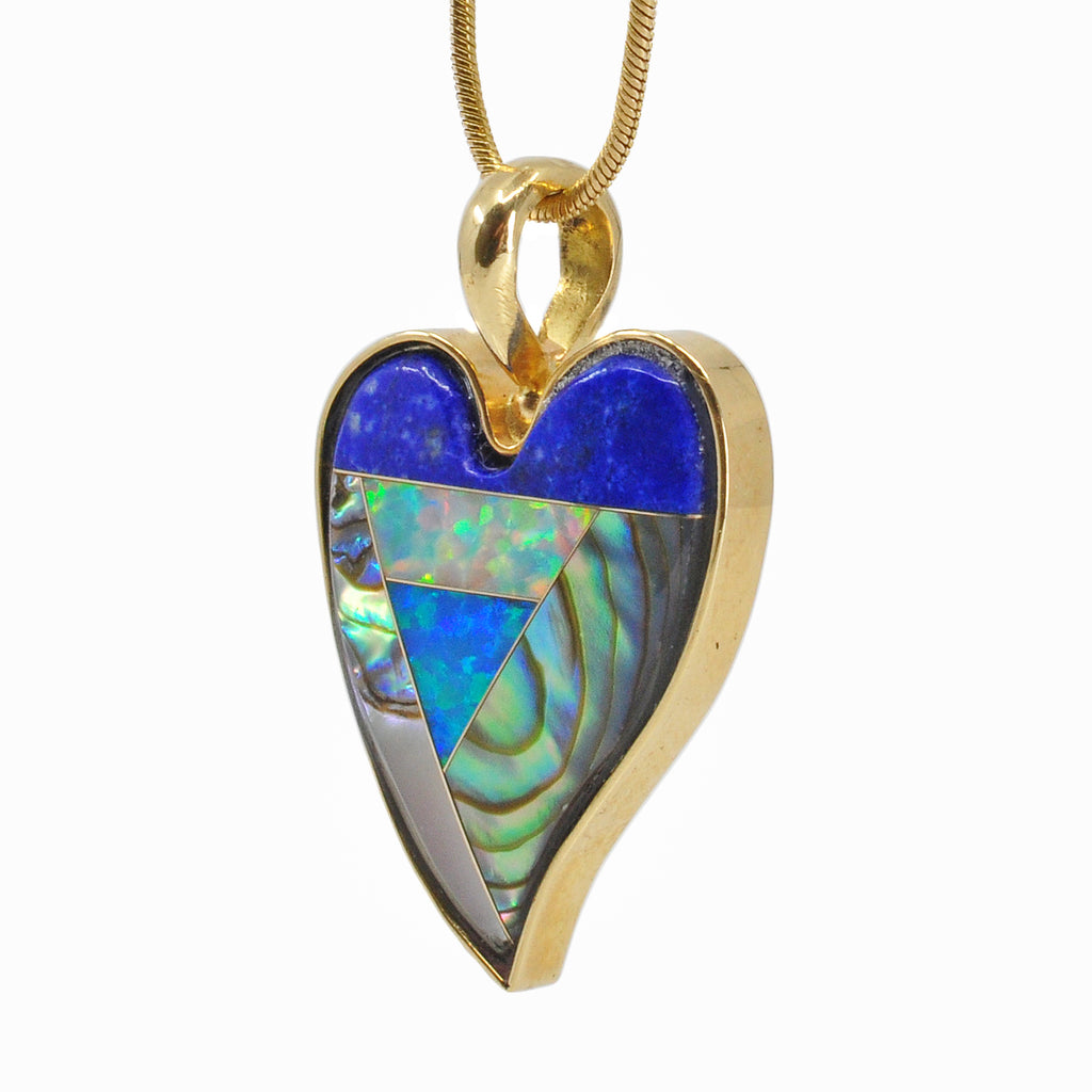 Intarsia Style 22.2 mm 12.31 carats Heart Shaped 18K Handcrafted Gemstone Pendant