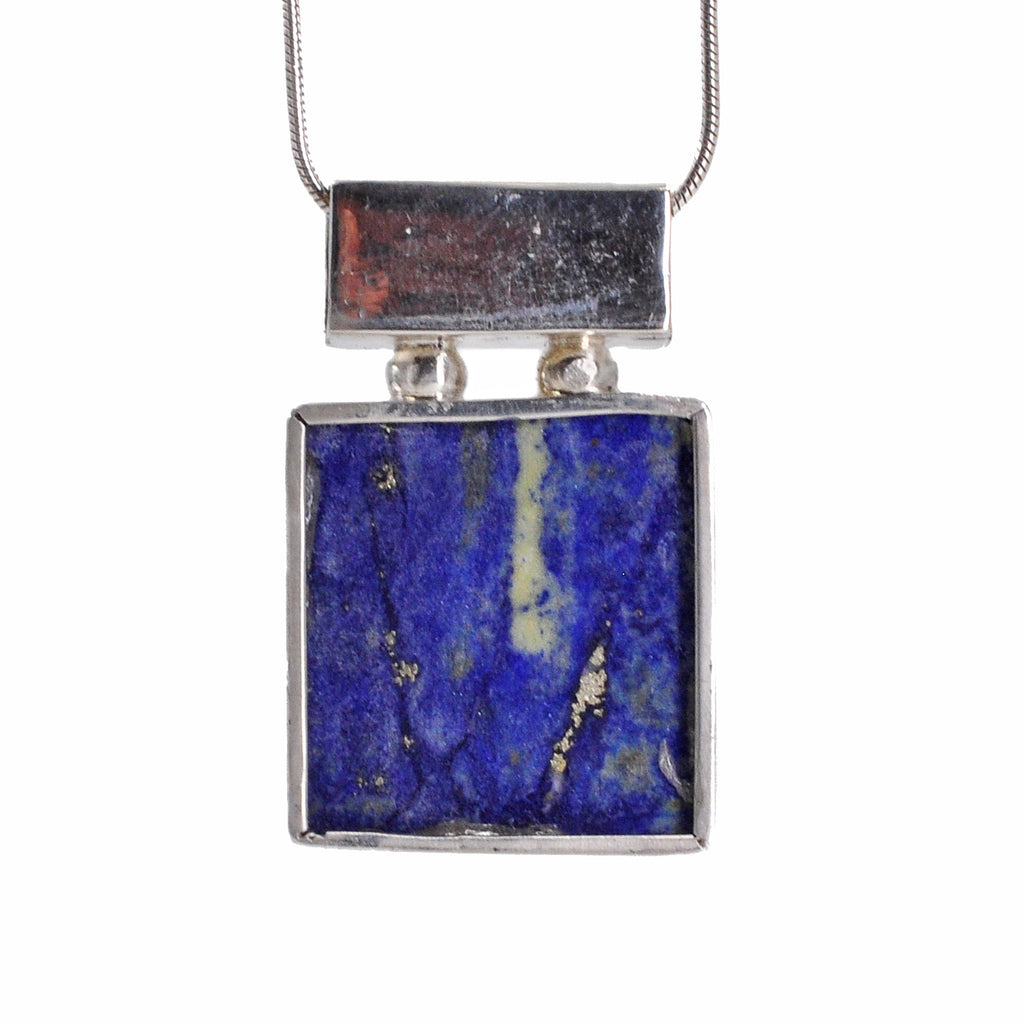 Lapi Lazuli 17.68 mm 20.39 carats Rough Cabochon Sterling Silver Handcrafted Pendant