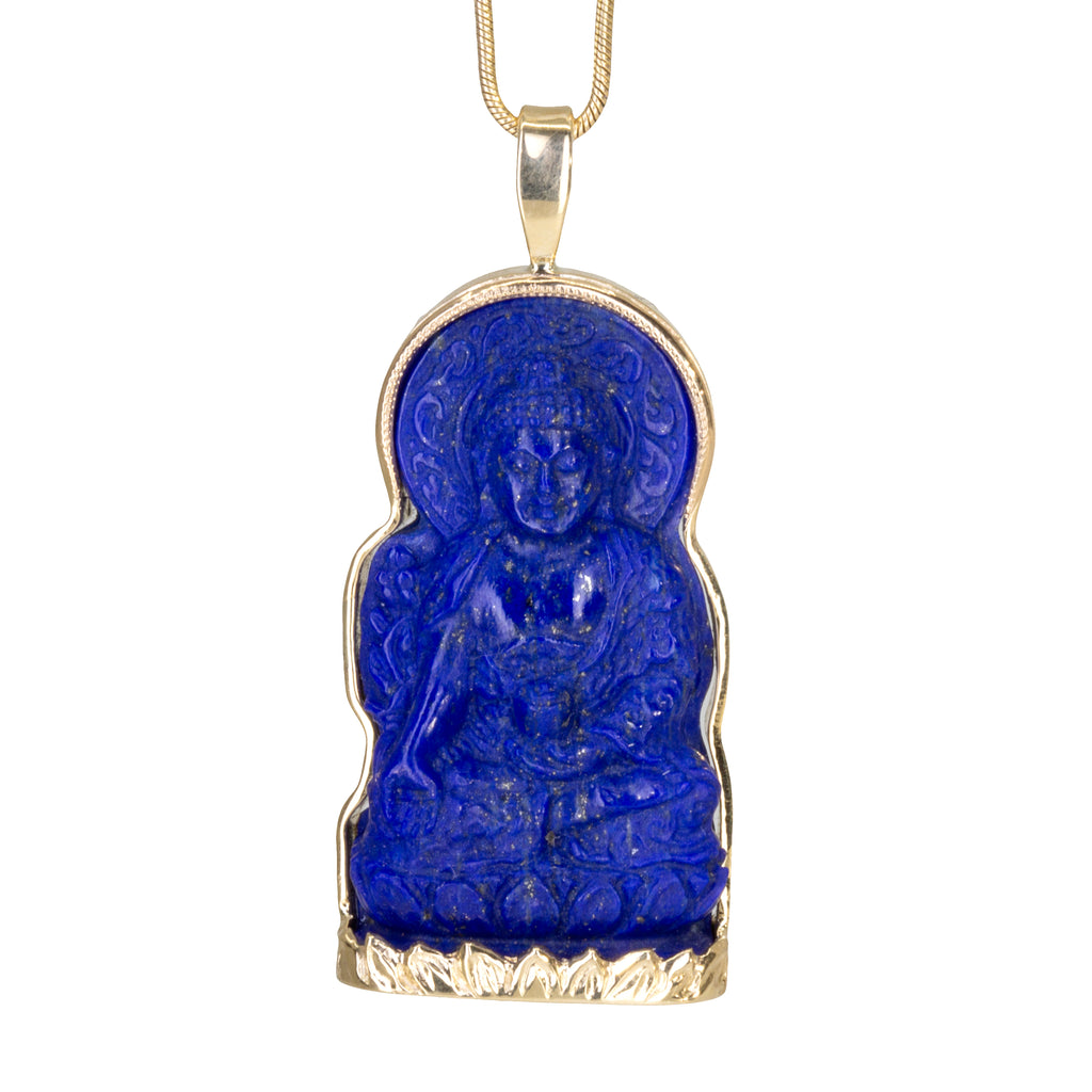 Lapis 56.4 carat Carved Buddha 18k Handcrafted Pendant