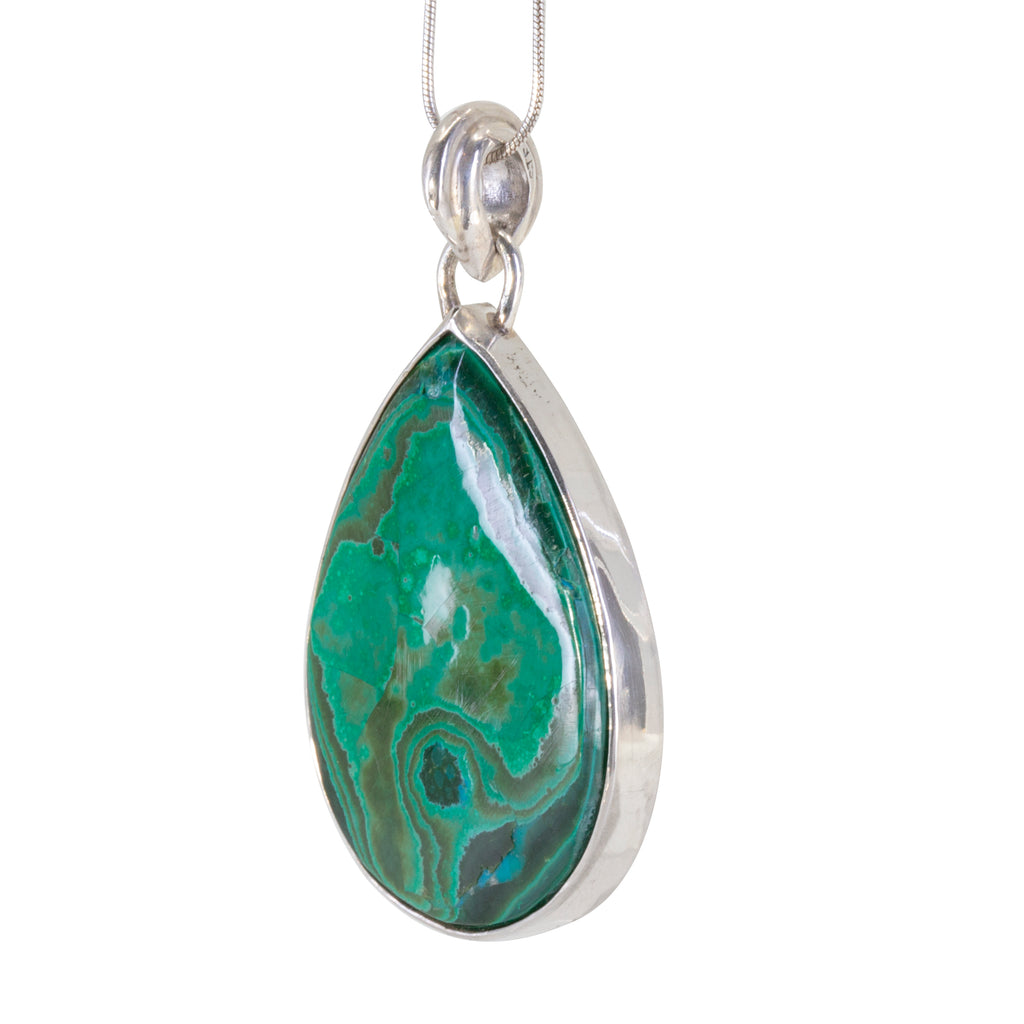 Malachite 46.5 carat handcrafted Sterling Silver Cabochon Pendant