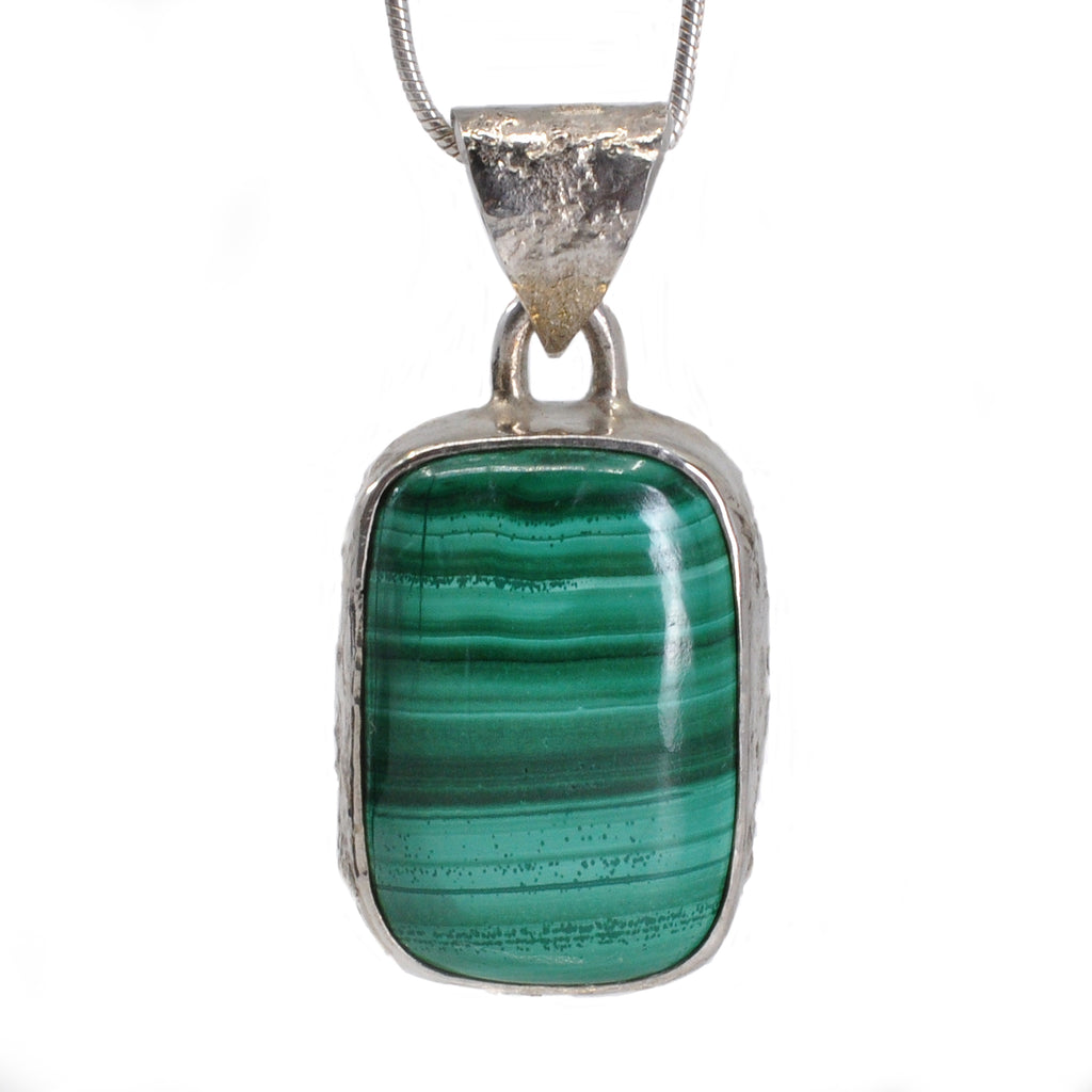 Malachite 18.41 mm 24.61 carats Rectangle Cabochon Sterling Silver Handcrafted Pendant