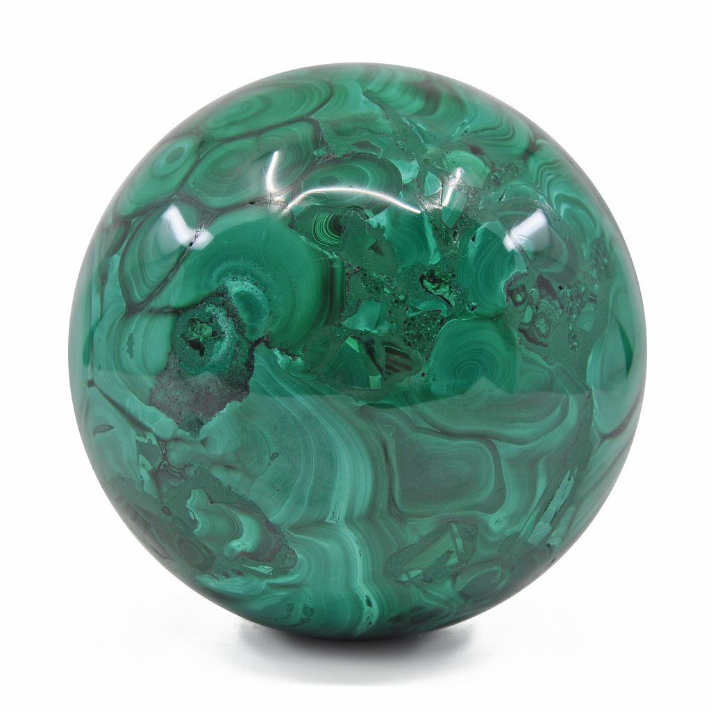Malachite 3.8 inch 3.9 lbs Natural Crystal Polished Sphere - Congo