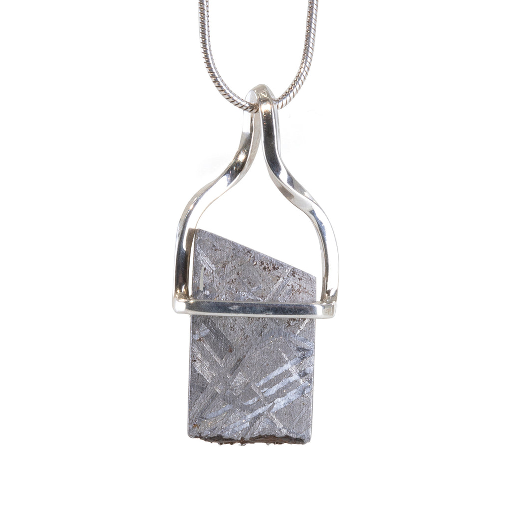 Meteorite 16.7 carat Etched Crystal Handcrafted Sterling Silver Pendant