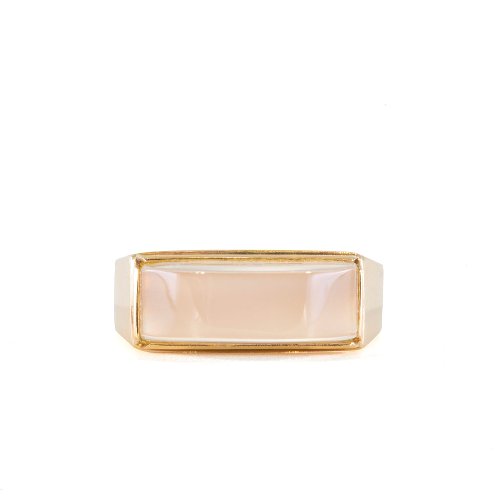 Moonstone Horizontal 14k Handcrafted Cabochon Ring