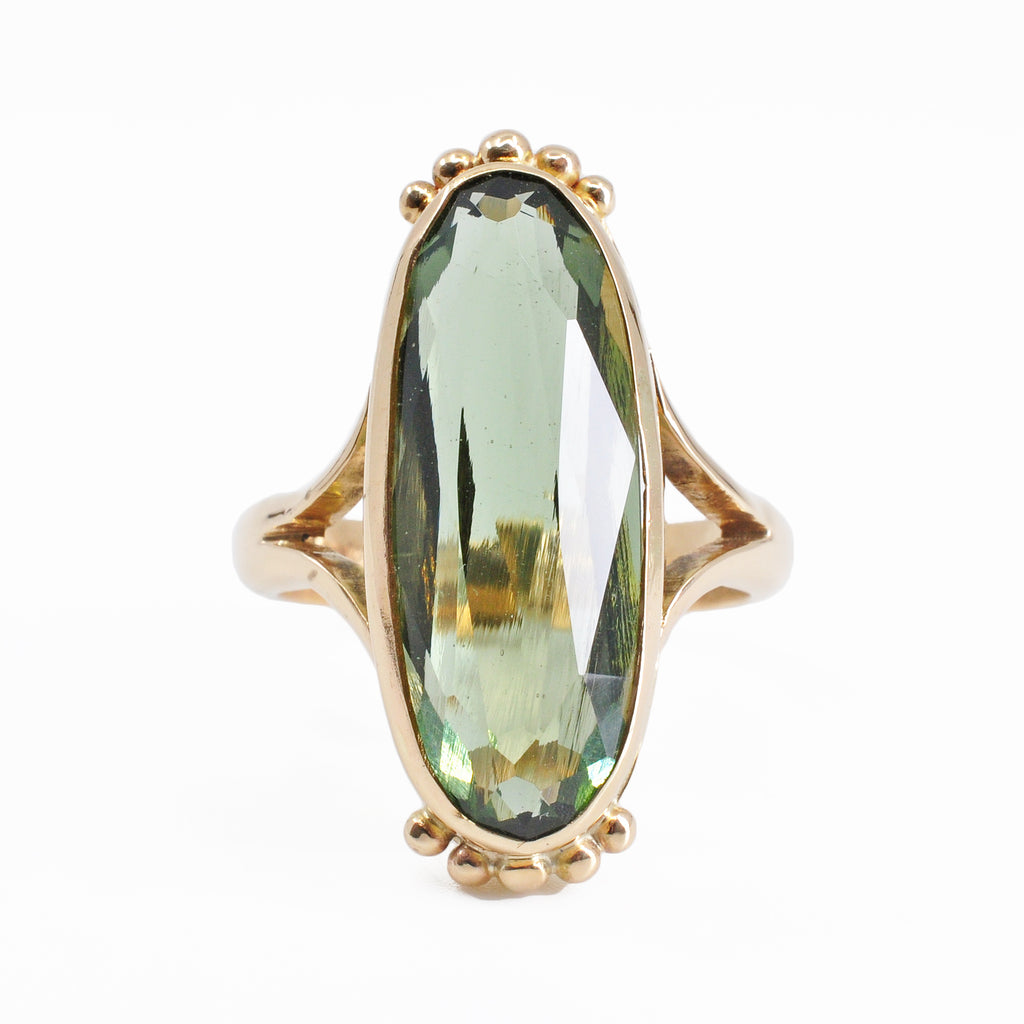 Moldavite 24.48 mm 8.69 carats Faceted Oval 14K Handcrafted Gemstone Ring