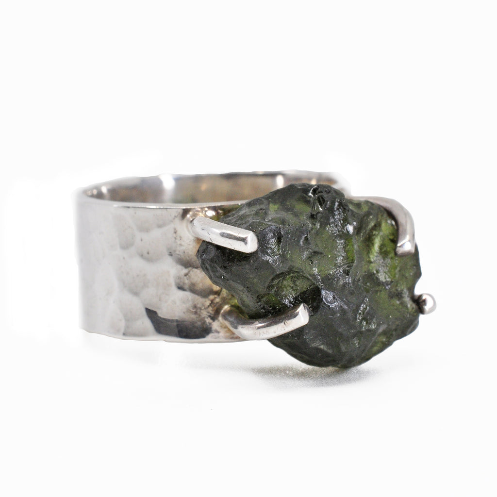 Moldavite 12.34 mm 9.73 carat Natural Crystal Sterling Silver Handcrafted Ring