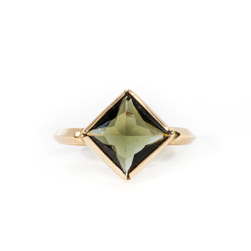 Moldavite 2.75ct Faceted Gemstone 14k Handcrafted Ring