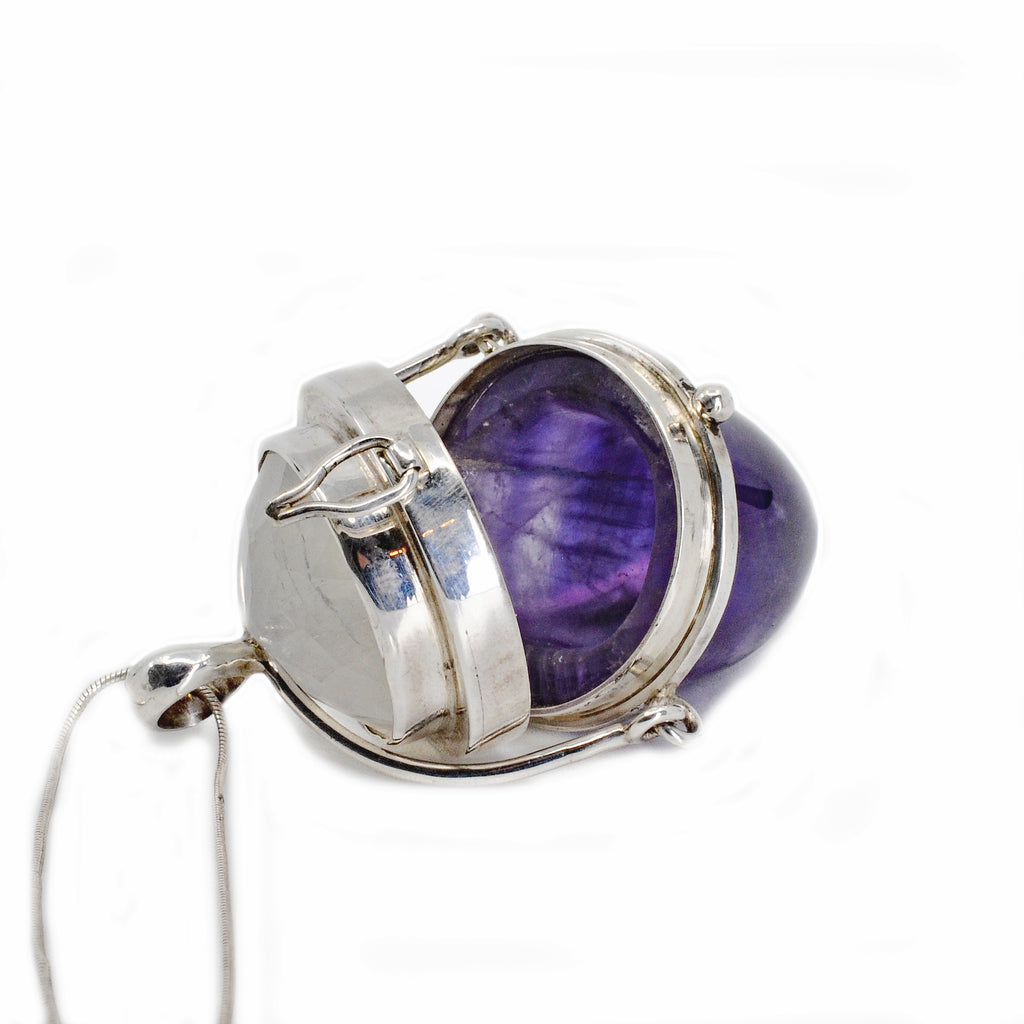 Amethyst 40.16 mm 59.6 carats with Moonstone Handcrafted Sterling Silver Gemstone Vessel Pendant