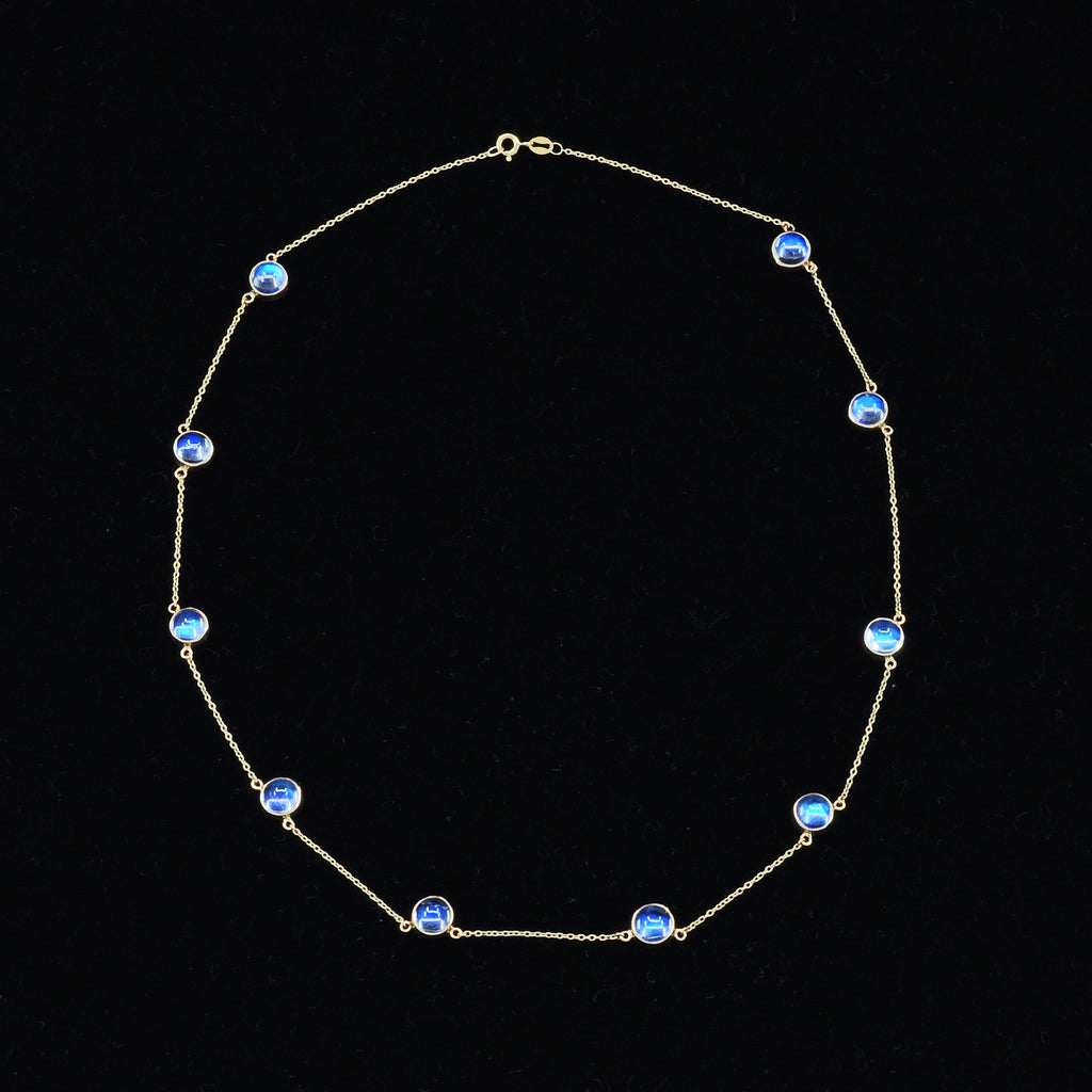 Gem Blue Moonstone 20 inch 14K Handcrafted Gemstone Necklace