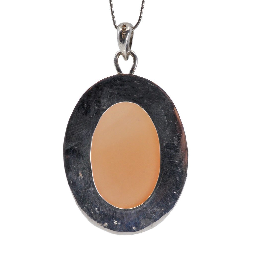 Peach Moonstone 46.81ct Sterling Silver Radiant Pendant