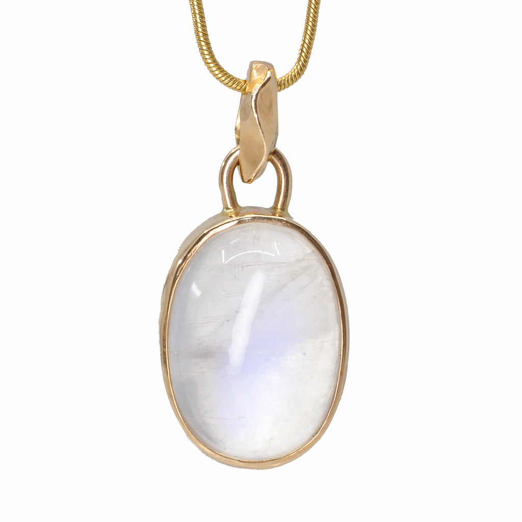 Blue Moonstone 17.9 mm 17.99ct Oval Cabochon 14K Handcrafted Gemstone Pendant